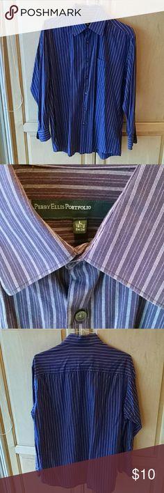 "Perry Ellis Purple stripe cotton button down shirt Nice cotton woven stripe shirt. Logo buttons. In good condition. Neck is 16.5"" and chest is 34/35. Perry Ellis Portfolio Shirts Dress Shirts"