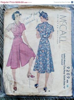 Black Friday 50% Off Sale McCall 9209 1930s by EleanorMeriwether