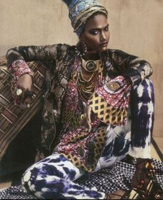 African fashion not afraid to mix it up with the prints.