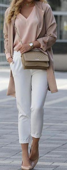 #fall #outfits  Mocha Coat + Pink Blouse + White Pants