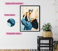 *Trommelwirbel*: Unser neues Produkt ist online! Du willst ein ganz besonderes Bild oder ein tolles Geschenk Vielleicht schon bald zum Valentinstag? Wir haben da was ganz neues für dich: Unsere neue Pixel-Kunst. Eigenes Bild hochladen und in ein wunderschönes Kunstwerk verwandeln lassen. Schaut mal bei uns vorbei und probiert es aus. Pixel Art, Gallery Wall, Inspiration, Frame, Home Decor, Map Of The Stars, Night Skies, Last Minute Gifts, Amazing Gifts
