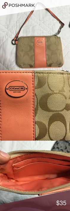 Coach Wristlet Tan, salmon pink coach wristlet is adorable! Whether you're on the go or just wanting to keep it in your purse! I don't have the authenticity card, but it was a gift about 2-3 yrs ago. Has a few tiny marks inside, but other than that its in good condition! Has 2 small card slots as well! Coach Bags Clutches & Wristlets