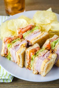A stacked Club Sandwich is always a favorite at lunchtime With two types of deli meat cheese lettuce tomato and bacon whats not to love Club Sandwich Ingredients, Sandwich Recipes, Lunch Recipes, Dinner Recipes, Cooking Recipes, Healthy Recipes, Sandwich Ideas, Croissant Sandwich, Reuben Sandwich