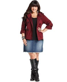 American Rag Plus Size Jacket, Piped Double-Breasted - Plus Size Coats - Plus Sizes - Macy's