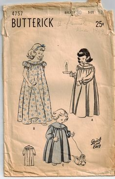 Vintage 40's Sewing Pattern Girls NightGown by SuzisCornerBoutique