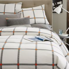 Pop Plaid Duvet Cover + Shams - Feather Gray | West Elm