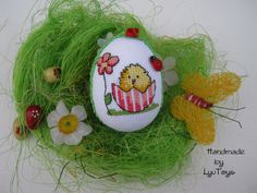 Easter egg - handmade,rustic home decor,embroidered egg,cross stitch egg,cross stitch ornament,gift for Easter