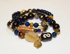 Believe Chakra Gemstone Dzi Luck bracelet set of 3 by gotchakra, $42.00