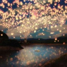 Tangled sky of lanterns