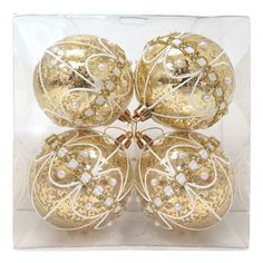 Ribbon Ball Ornaments Gold- Set of 4