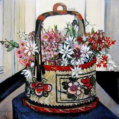 """Basket of Flannel Flowers"" by Margaret Preston Art Print by patriciannek Margaret Preston, Margaret Rose, Henri De Toulouse Lautrec, Australian Painters, Australian Artists, Gustav Klimt, Flower Mural, Flower Paintings, Flannel Flower"