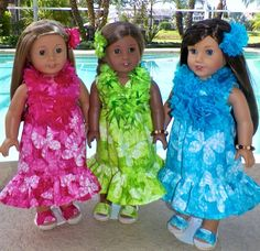 """7pc, Hawaiian Dress clothes fits Isabelle, Kanani or any 18"""" American girl doll"""