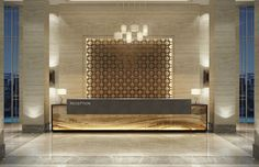 modern hotel Proof that a lobby design is j - hotel Hotel Reception Desk, Reception Desk Design, Lobby Reception, Modern Reception Desk, Hotel Lobby Design, Design Entrée, Wall Design, Door Design, Design Ideas