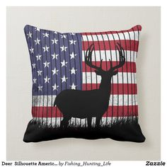 Deer Silhouette American Throw Pillow Custom Pillows, Decorative Throw Pillows, Hunting Home Decor, Buck Deer, Deer Silhouette, Fishing Accessories, Fishing Outfits, Artwork Design, Tool Design
