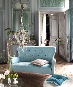 designers guild, french, robins egg, blue, settee, chandelier