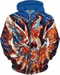 Dragon Element Trance Custom Fantasy Style Zip Hoodie by Willy Badu.