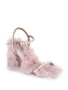 8e1842fb972b0 Miu Miu - Embellished Eco Shearling Ankle-Strap Sandals Ankle Straps