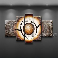 Large Modern Textured Painted Wall Art High Quality Oil Painting For Bed Room Figure. This 4 panels canvas wall art is hand painted by V.Chua, instock - $165. To see more, visit OilPaintingShops.com