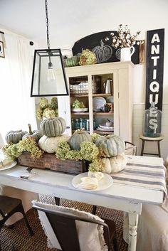 Rustic pumpkin and hydrangea fall centerpiece