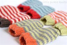 4ply stripy baby mittens *