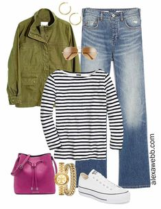 Plus Size Spring Casual Outfit Idea with utility jacket, bootcut jeans, stripe t-shirt, and platform sneakers - Alexa Webb