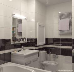 Дизайн-проект ванной комнаты в черно-белом цвете | Чудо Ванна