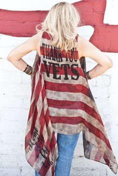 """THANK YOU VETS!!! For your service and your sacrifices!!!  Show your appreciation for our vets with Southern Girl Apparel's THANK YOU VETS American flag vest.  Perfect for Memorial weekend and anytime. Vintage color American Flag Red White and Blue """"THANK YOU VETS"""" on the back with """"Home of the Free because of the Brave"""" on one side of the front at bottom and """"Proud to be an American"""" on the other side of the front at bottom (see photos)- semi sheer American Flag Kimono, Vest. Southern Girl Outfits, Southern Girls, Graphic Tank Tops, Memorial Weekend, Vintage Colors, Red White Blue, American Flag, Brave, Appreciation"""