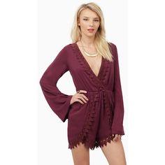 Tobi Spring Awakening Romper (€41) ❤ liked on Polyvore featuring jumpsuits, rompers, burgundy, long romper, playsuit romper, long rompers, purple romper and bell sleeve romper