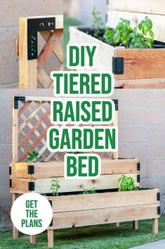Learn how to build a DIY tiered raised garden bed using cedar fences and 2×4 with a step by step tutorial and printable build plans. Great for patios and decks to plant flowers, herbs or vegetables. Cedar Fence, Full Bed, Raised Garden Beds, Fences, Garden Landscaping, Planting Flowers, Woodworking, Printable, Herbs