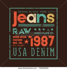 Vector illustration on the theme of denim, raw and jeans in New York City. Vintage design. Grunge background. Typography, t-shirt graphics, print, poster, banner, flyer, postcard