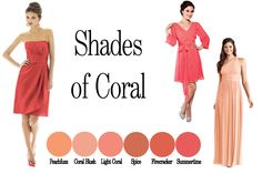 Shades of coral! Coral Bridesmaid Dresses.     #brideside #wedding #color #bridesmaid #coral #bside #blog #dresses #orange #pink