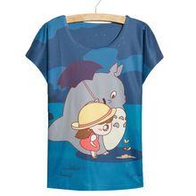 Nouveautés mode totoro fille impression col rond manches chauve - souris t - shirt à manches courtes pour l'été t - shirt W & E007(China (Mainland))