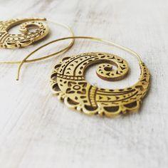 Brass Spiral Earrings, Boho Earrings, Tribal Earrings, Hoop Earrings, Gold Earrings, Gipsy Earrings, Tribal Belly Dance Jewellery.