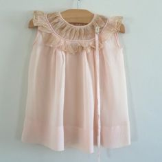 Vintage peach silk crepe baby dress with tea stained lace yoke, circa 1920. Precious!!!