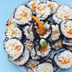 Made dinner for my family tonight! Brown rice kimbap with pumpkin, tuna, cucumber, egg and red caviar.  #Padgram
