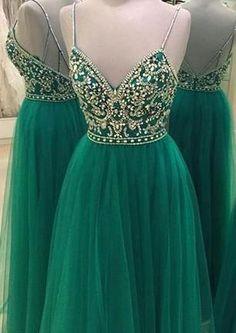 Green Beading Backless A-line Spaghetti Straps New-Arrival Evening Dress_High Quality Wedding Dresses, Prom Dresses, Evening Dresses, Bridesmaid Dresses, Homecoming Dress - 27DRESS.COM