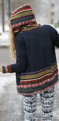 Etno Aztec Details On Hooded Jacket
