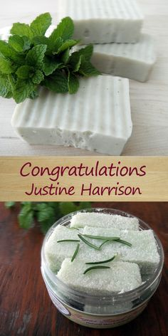 I have selected a WINNER of last month's blog giveaway.  All of the entries from the month of April have been counted.  The winner is Justine Harrison. You WON a bar of handmade soap and body scrub cubes in the fabulous, refreshing scent of Rosemary Mint! #handmadesoap #bodyscrub #rosemarymint