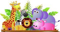 Giraffe Lion Zebra And Elephant Jungle Cartoon Picture
