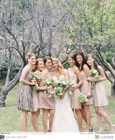 Taupe Bridesmaids, dif textures. Then raspberry shoes and flowers? Groomsmen in diff taupe vest/shirt combos and raspberry pocket hankies?