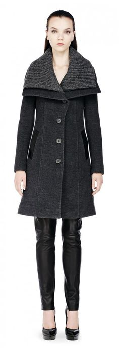 Mackage - MONA CLASSIC GREY BUTTONED WOOL COAT