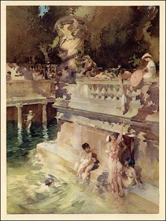 Sir William Russell Flint — The Hedonists — 1920s - My all-time favorite Flint watercolor...look at the design and handling of the washes...not to mention the figures...OMG http://richardburkejones.com/