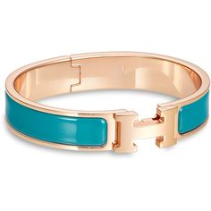 Hermès Clic H Bracelet in Duck Blue & Rose Gold (903 900 LBP) ❤ liked on Polyvore featuring jewelry, bracelets, rose jewellery, rose jewelry, rose gold jewelry, blue rose jewelry and blue jewelry