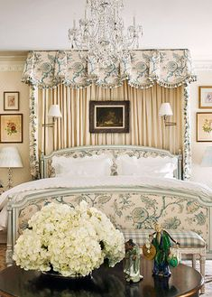 What a lovely bed! And the bed treatment could be echoed easily at the windows.This is such a classic English look. Traditional Home