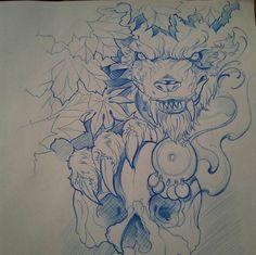 #dibujo #drawing #lobo #wolf #calavera #skull #hojas #otoño #autumn