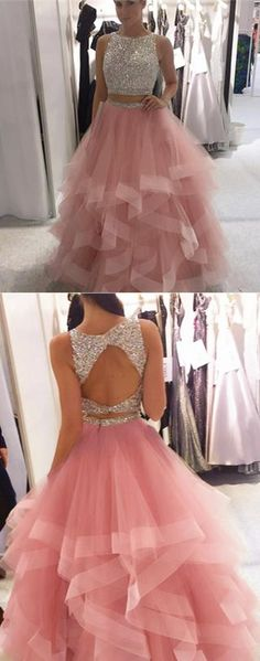 two piece prom dress, 2018 prom dress, pink long prom dress, open back prom dress, sparkly sequins prom dress
