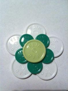 """Medicine Vial Top """"Flip Off"""" Flower ID Badge Holder"""