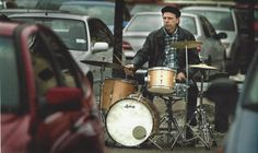 Me playing my old Ludwig clubdate kit in a parkinglot in Örebro, Sweden 2006 03 15