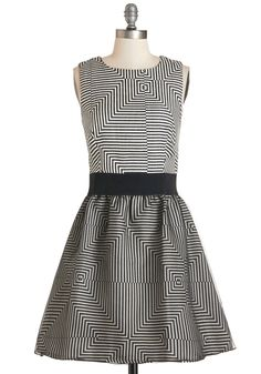 You A-maze Me Dress. If youre looking to take your evening in a stunning direction, this black-and-white woven dress is your first choice.  #modcloth