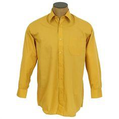 Berlioni Men/'s Convertible Cuff Solid Dress Shirt-mustard-xl Sleeve 36//37